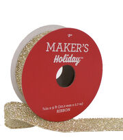 Maker's Holiday Christmas Mesh Wire Ribbon 7/8''x9'-Gold Glitter, , hi-res