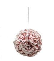Blooming Holiday Christmas 5'' Small Flocked Rose Kissing Ball-Pink, , hi-res