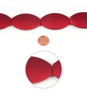 Blue Moon Strung Plastic Beads,Flat Oval,Red,Matte, , hi-res