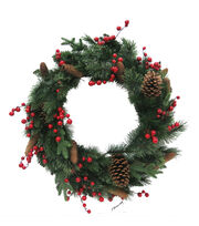 Blooming Holiday Christmas 30'' Berry, Pinecone & Pine Wreath, , hi-res