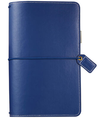"Faux Leather Travelers' Planner 5.7""X8""-Navy"
