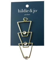 hildie & jo™ Triangular Gold Pendant-Clear Round Crystals, , hi-res