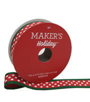 Maker's Holiday Satin Ribbon 7/8''x9'-Red with White Dots & Green Edge, , hi-res
