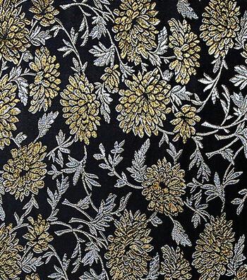 "Fashion Brocade Mum Fabric 44""-Black & Gold"