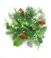 Blooming Holiday Christmas Holly Leaves, Berry & Pinecone Mini Wreath, , hi-res
