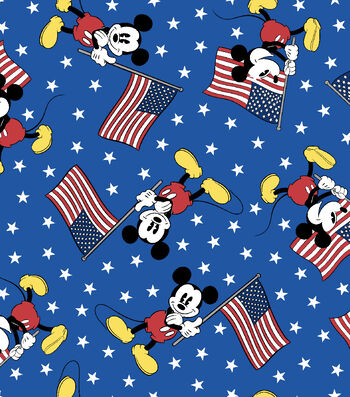Patriotic Cotton Fabric 43''-Mickey Team with USA Flag