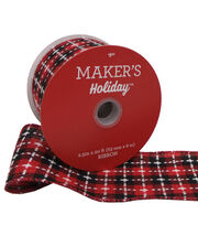 Maker's Holiday Ribbon 2.5''x20'-Black & Red Check with White Stitch, , hi-res