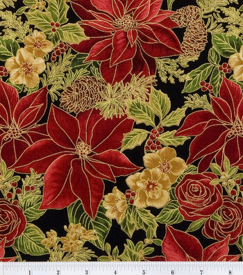 "Maker's Holiday Cotton Fabric 44""-Poinsettias"