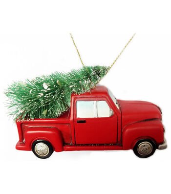 Maker's Holiday Christmas Truck With Tree Ornament-Red