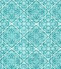 Luxe Flannel Fabric 42\u0027\u0027-Teal Boho Stamp
