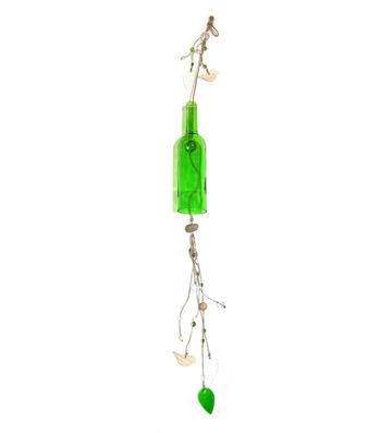 Glass Bottle Windchime Green
