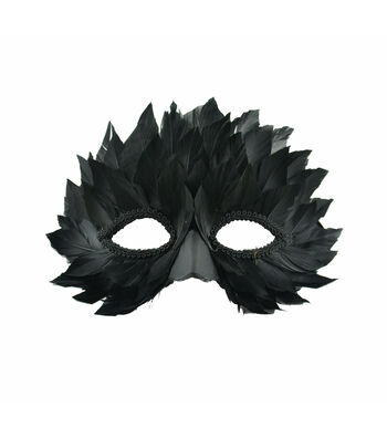 Maker's Halloween Half Mask with Feathers-Black
