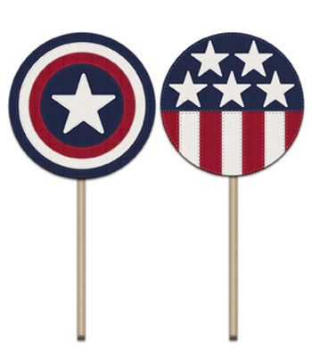 Americana Patriotic 2''x3.5'' Cupcake Picks-Stars & Stitched Stripes