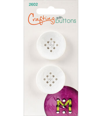 Crafting with Buttons 2 pk Small 9 Hole Buttons-White