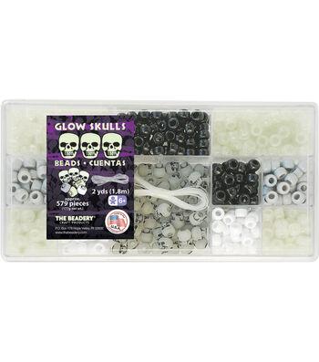 Bead Box Kit 579 Beads/Pkg-Glow Skulls