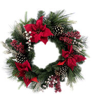 Blooming Holiday 22'' Poinsettia, Berries, Pine & Pinecone Wreath-Red, , hi-res