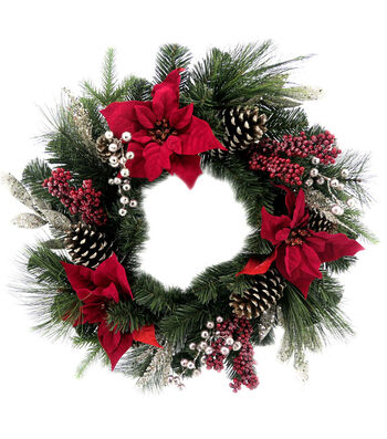 Blooming Holiday 22'' Poinsettia, Berries, Pine & Pinecone Wreath-Red