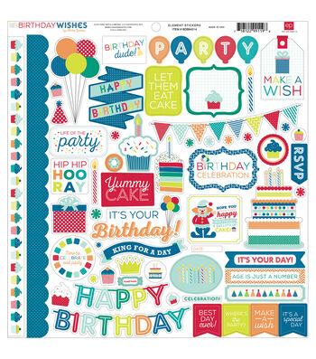 Echo Park Paper Company Birthday Wishes Boy Element Cardstock Stickers