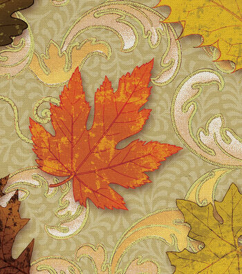 "Harvest Cotton Fabric 44""-Scroll Leaves"