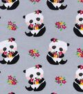 Snuggle Flannel Fabric 42\u0022-Panda & Flowers