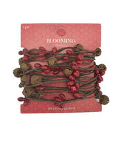 Blooming Holiday Christmas 9' Bell & Berry Roping Garland-Brown & Red, , hi-res