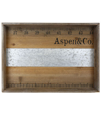 Farm Storage Large Wooden Tray with Galvanized Accent