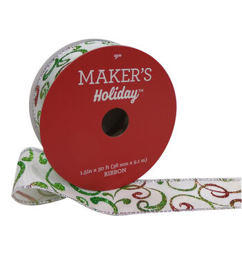 Maker's Holiday Christmas Ribbon 1.5''x30'-Ombre Glitter Swirl on White