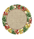 Art of Autumn 8 Count Burlap Lunch Paper Plate-Leaves