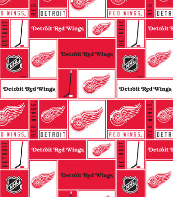 Detroit Red Wings Cotton Fabric 43''-Block