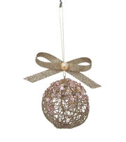 Maker's Holiday Christmas Holiday Charm Nest Globe with Sequins Ornament, , hi-res