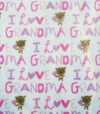 "3 Yard Pre-Cut Snuggle Flannel Fabric 42""-I Love Grandma Pink"