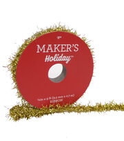 Maker's Holiday Christmas Tinsel Ribbon 3/8''x9'-Gold, , hi-res