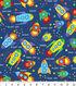 Novelty Cotton Fabric 43\u0022-Blast Off Rockets On Blue