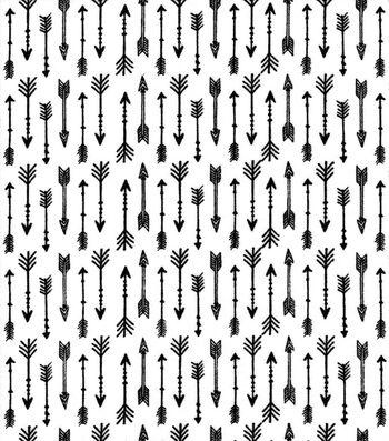Nursery Flannel Fabric 42''-Black Arrows on White