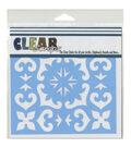 Clear Scraps 6\u0027\u0027x6\u0027\u0027 Plastic Stencil-Mexican Tile