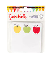 American Crafts™ Jack & Molly 50 Pack Sticky Notes-Three Apples, , hi-res
