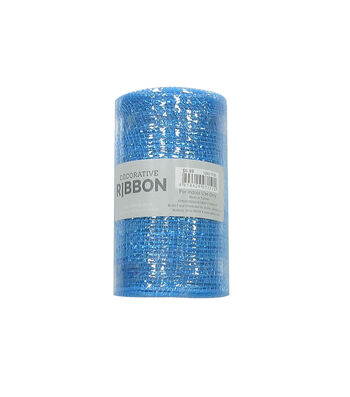 Decorative Ribbon Metallic Deco Mesh 5.5''x10 yds-Cobalt Blue