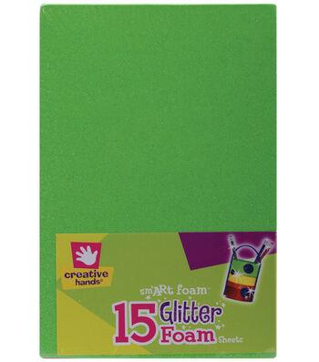 "Fibre Craft 5-7/8""x8-7/8"" Glitter Foam Sheets-15PK/Brights"