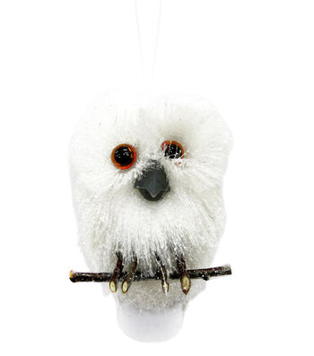 Maker's Holiday Christmas Arctic Frost Owl Ornament-White