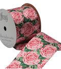 Offray 2.25\u0022 x 9\u0027 Floral Ribbon-Pink/Green