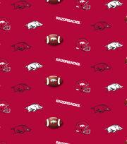 "University of Arkansas Razorbacks Cotton Fabric 44""-Red All Over, , hi-res"