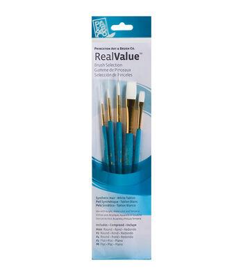 Real Value Brush Set Synthetic White Taklon-Round 3/0,2,4, Flat 2,6