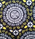 Anti-Pill Fleece Fabric Gray Yellow Medallion