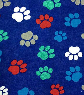 "Novelty Cotton Fabric 43""-Paw Prints On Navy"