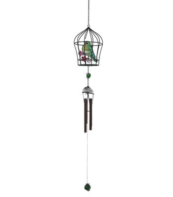 Wild Blooms Colorful Bird In Birdcage Wind Chime