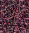 Modern Cotton Fabric 43\u0027\u0027-Dotted Wavy Lines Pink on Navy