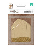 American Crafts DIY Shop 2 Kraft With Gold Glitter Tags, , hi-res
