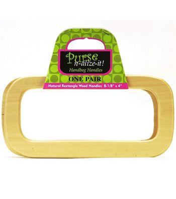 "Purse n-alize-it! Natrual Wood Rectangle Purse Handle 8-1/8"" x 4"""