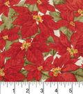 Maker\u0027s Holiday Cotton Fabric 43\u0022-Packed Poinsettias