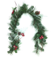 Blooming Holiday 66'' Pine, Cedar, Holly Leaves & Pinecone Mixed Garland, , hi-res
